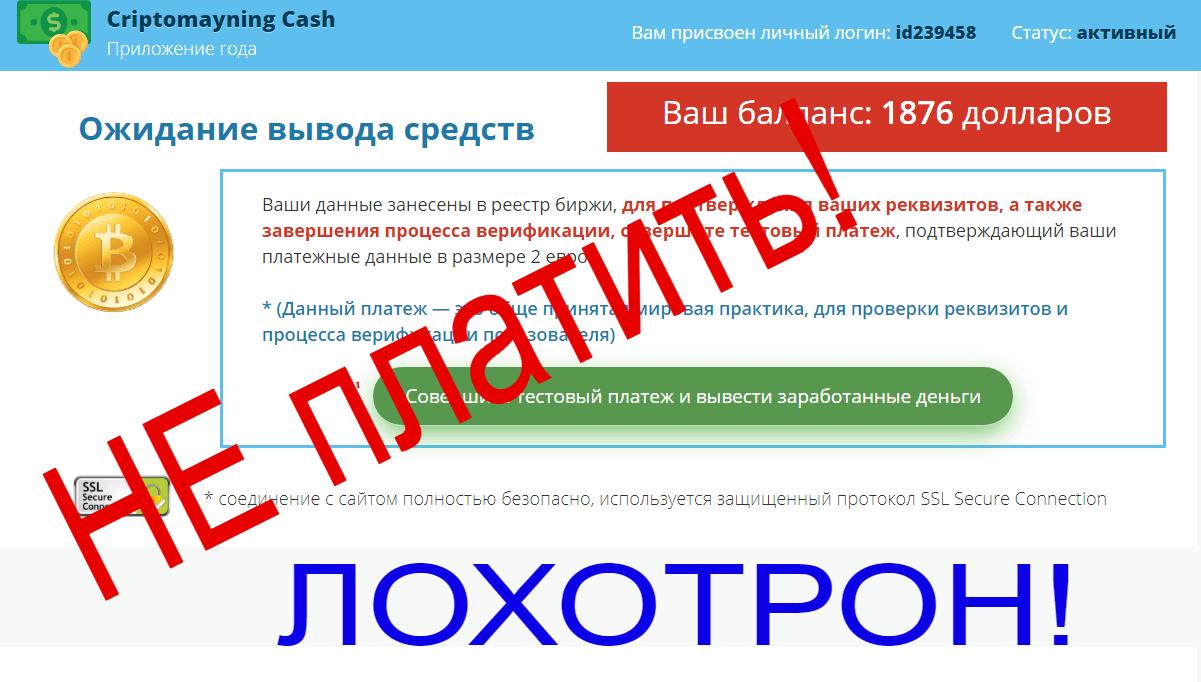 Criptomayning Cash отзывы