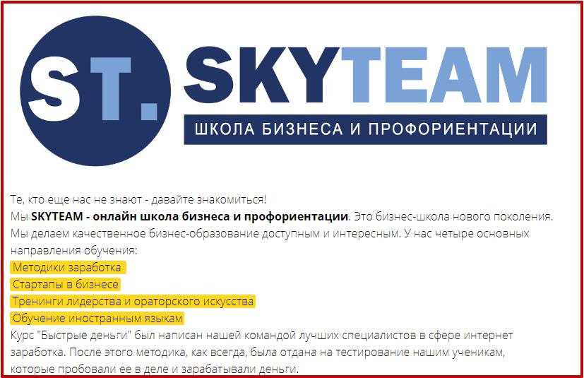 быстрые деньги от Skyteam курс